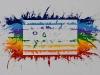 Sulla bandiera della pace,  olio su tela,  cm. 70x100,    2009