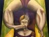 La contorsionista,   olio su tela,  cm. 125x125,  1996