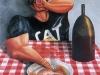 Il bevitore,  olio su tela,  cm. 125x125,  1996