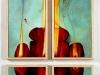 OK brucia, OK consuma, Ok...,  olio su tela, legno,   cm. 80x40,  2005