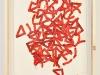 Non si butta via niente da Reds S, olio e sabbia su plastica su carta su legno, cm. 39x28, 2012