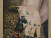 la mano dipinta,  olio su tela, legno, cm. 17x20,  2004