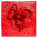 scontro rosso, olio su fibbra di resina su tela, cm 75x75, 2016