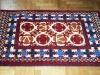 Ok un cazzo  red and orange ,  lana annodata a mano su ordito di cotone,  cm.90x140,  2000