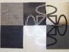 Terra-terra(composizione 6 elementi),  serigrafia su materiali vari, neon,   cm. 120x180 ( 60x60 per elemento),  1992