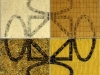 Terra-terra(composizione 4 elementi),  serigrafia su riso, biscotti, pasta, minestra liofilizzata,   cm. 120x120 ( 60x60 per elemento),  1992